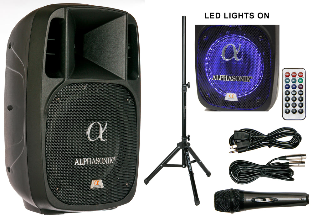 "Alphasonik AKDJ105BTS 10"" Powered 1600W PRO DJ Amplified Loud Speaker"
