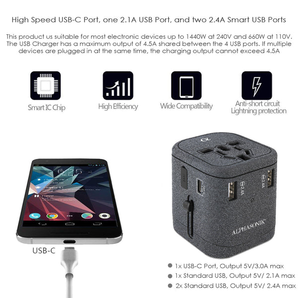 Alphasonik APA100 Worldwide Universal International Travel Power Adapter AC Wall Charger Plug 4 USB Ports Type-C Fast Charging 3.0A for USA UK European Cell Phone Tablet Laptop iPhone W/Travel Case