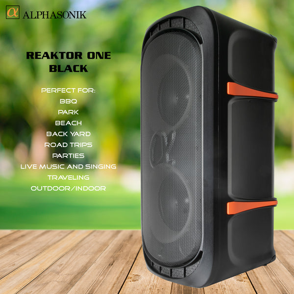 Alphasonik ReaktorOne Battery Powered Portable Party Speaker Box Alpha Bass Bluetooth Mic and Guitar Inputs Phone Charger USB Player AUX App Control