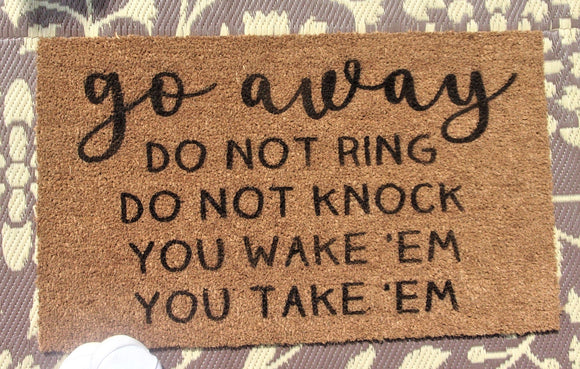 Go away Do not Knock door mat