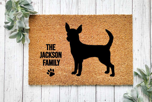 Personalized Chihuahua door mat