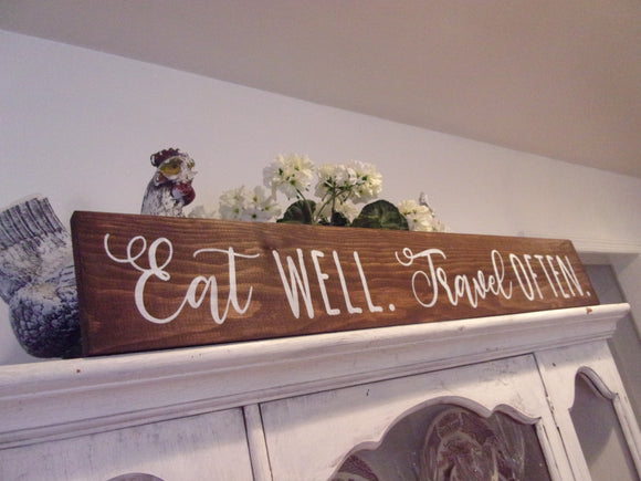 Eat well travel often sign