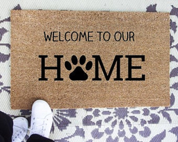 Welcome to our home dog print doormat