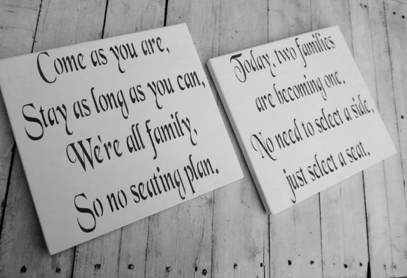 Come as you are AND Today two families SIGN SET