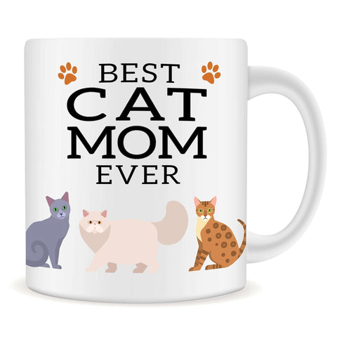 Image of Best Cat Mom Ever 11oz Mug - Perfect gift for Women and Cat Lovers