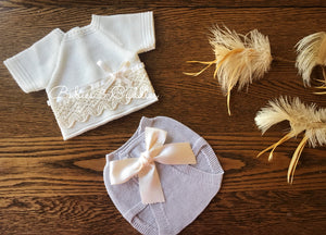 2131 Newborn Baby Short Sleeve Delicate Lace and Bloomer Set from Babies & Cuddles