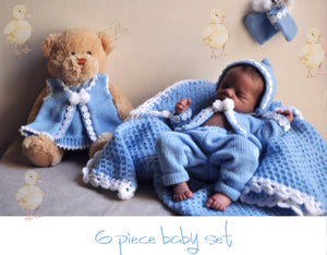 Leilani 6 piece knitted baby layette set