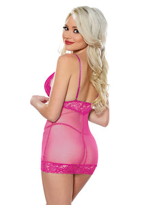 Allure Blush Me Babydoll & G-String Hot Pink O/S