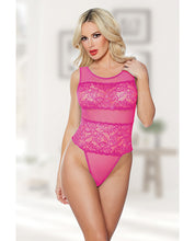 Allure Heather & Lace Teddy Hot Pink O/S