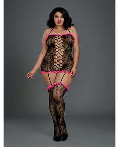 Stretch Lace Halter Garter Dress w/Attached Garters & Thigh High Stockings Black/Fuchsia O/S