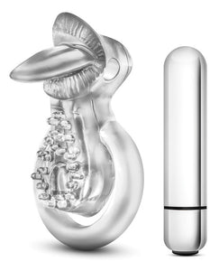 Blush Stay Hard Vibrating Tongue Ring - 10 Function Clear