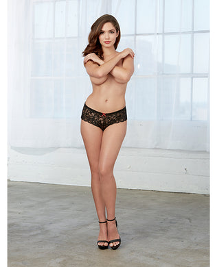 Open for business stretch lace short w/open crotch lace overlap black