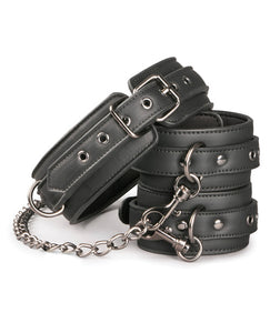 Easy Toys Faux Leather Collar w/Handcuffs - Black
