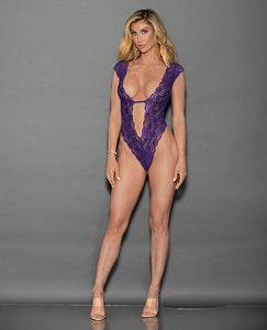 Euphoria Lace Teddy w/Cap Sleeves & Open Back Midnight Purple O/S