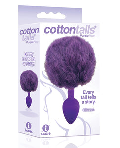 The 9's Cottontails Silicone Bunny Tail Butt Plug - Purple