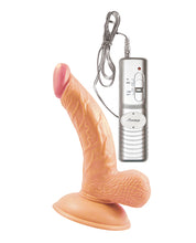 "All American Mini Whoppers Vibrating 5"" Curved Dong w/Balls - Flesh"