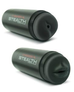 CyberSkin Stealth Dual Stroker Mouth & Anal - Black