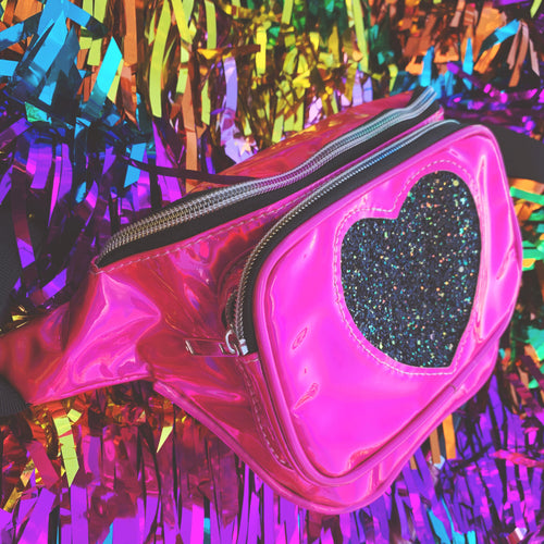 iridescent glitter heart bum bag
