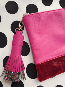 luxe leather clutch - CANDY PINK/RED
