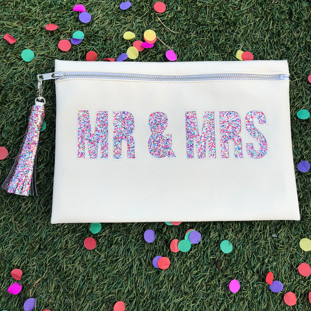 MR & MRS wedding clutch