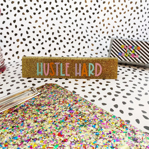 glitter desk name plate - gold
