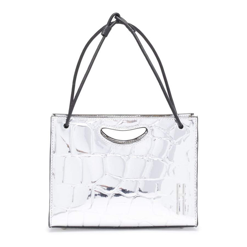 Mini 1712 Basket in Silver Mirror Coco Vegan Embossed Leather