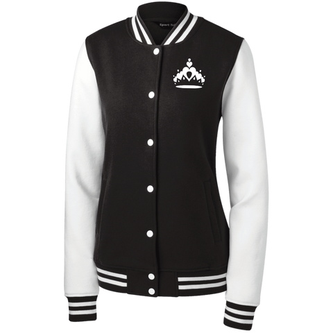 Image of Queen Crown Fleece Letterman Jacket