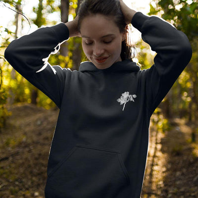 Black and White Orchid Logo Unisex Hoodie