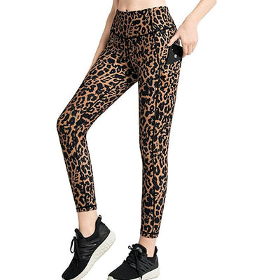 FITTIN Leopard Printed Ankle Length Yoga Pants With Pockets