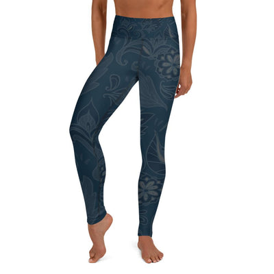 Deep Blue Flower Pattern Yoga Leggings