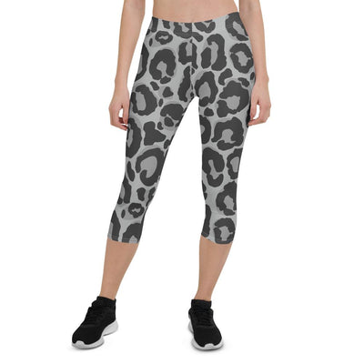 Black and White Cheetah Print Capri Leggings