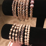 Pink Breast Cancer Crystal and Pearl Bracelets