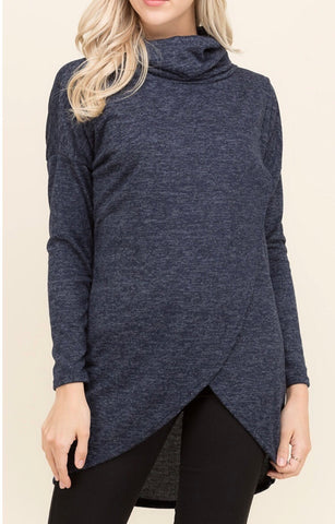 Navy Crossover Front Turtleneck Tunic