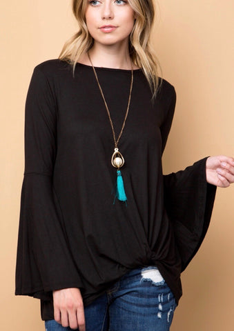 Black Solid Bell Sleeve Top