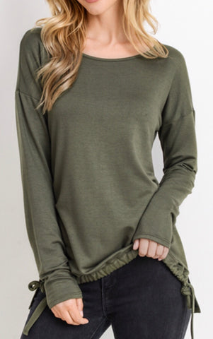Crew neck side tie top