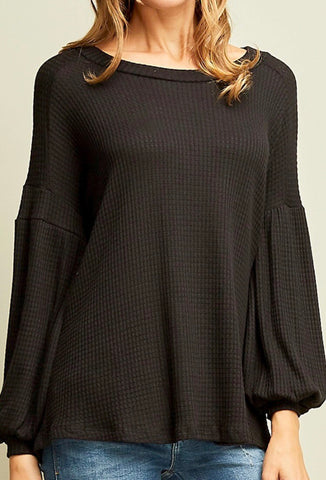 Black Solid Waffle Knit