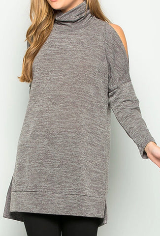 Solid Mocha Mock Turtleneck Cold Shoulder
