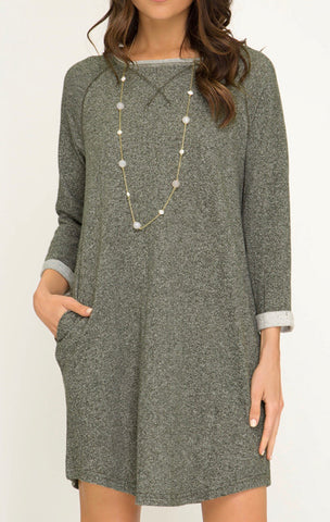 Solid French Terry Shift Dress