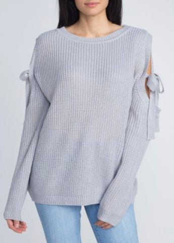 Cold Shoulder Sweater with Ties