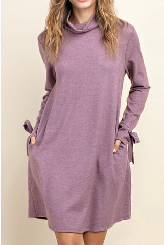 Mauve Mock Neck Pocket Dress