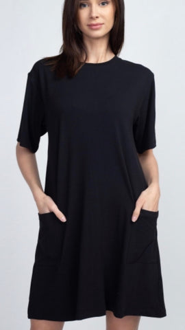 Super Soft Black Shift Dress with Pockets