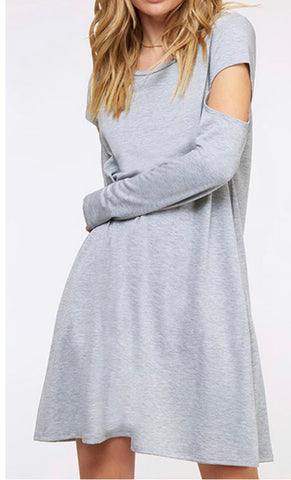 Cold Shoulder Cotton Dress with Pockets