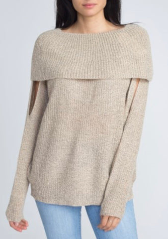 Off the Shoulder Sweater with Arm Slits