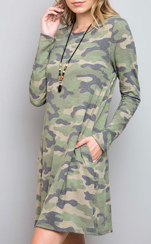 Cotton Camo Pocket Dress