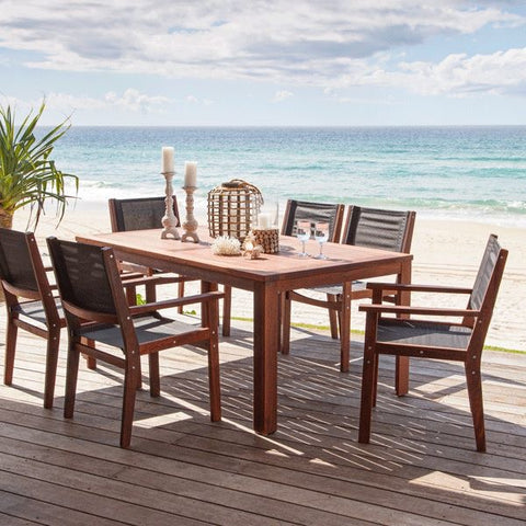 7PCE Harrison Setting with Roxbury sling chairs made from Kwila wood, one of our most durable timbers in stock.