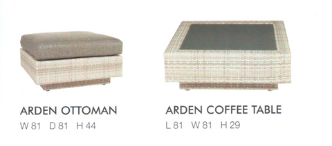 Arden Ottoman Arden Coffee table Soft grey Wicker Module Setting Lounging Suite