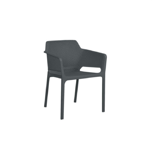 Lido Resin Cafe Chair - Charcoal - Cozy Indoor Outdoor Furniture