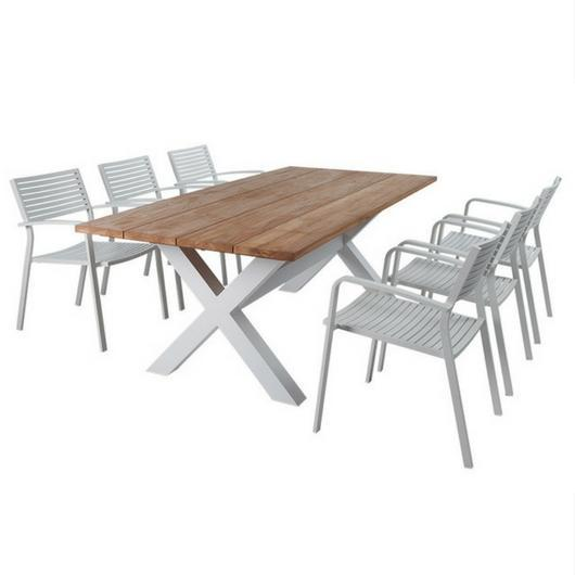 9PCE/7PCE Bellona & Luis Slat Dining Setting - Cozy Indoor Outdoor Furniture
