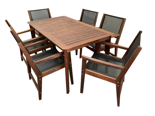 Bronx galaxy hardwood merbau kwila dining table chairs furniture setting cozy furniture