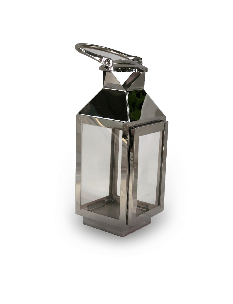 Silver Metal Lantern - Cozy Indoor Outdoor Furniture